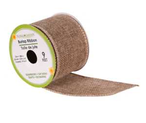Natural Burlap Jute Wired Ribbon 9 Feet/ 3 Yards 2 Inches Wide