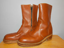 1980's Smooth Brown Leather Boots with Talon Zipper Men's Size 9 D By Le-High