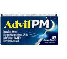 New Advil PM (80 Count) Pain Reliever / Nighttime Sleep Aid Caplet 200 Mg