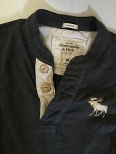 ABERCROMBIE AND FITCH MENS HENLEY SHIRT SMALL SM M LONG SLEEVE MUSCLE FIT GRAY