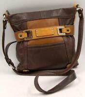 Tignanello Brown/Yellow Mustard Women's leather cross body bag