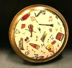 RARE C1950'S VINTAGE MUSICAL INSTUMENTS NOVELTY POWDER COMPACT