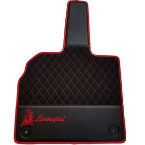 Designer Eco Leather Floor Mats For Lamborghini Aventador Black White Trim