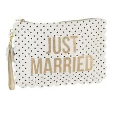 Punkte Hochzeit Tasche/Waschtasche mit Handgelenkband - Just Married
