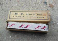 Ancien ruban initiales tissé rouge NN couture, mercerie
