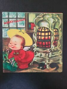 Vtg Christmas Greeting Card Charlot Byj Angel Warming Pot Belly Stove Kitten 40s