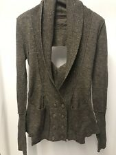 All Saints Devo Cardigan Jumper Jacket Brown Wool Deconstructed 14 Steampunk