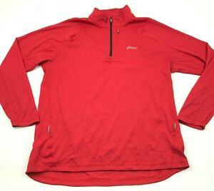 Asics Shirt Size Extra Large Red Long Sleeve Pullover 1/4 Zip Waffle Reflective