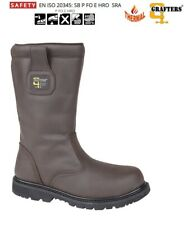 Mens RIGGER Boots Safety Work Waxy Brown Leather Steel Toe Grafters Size 6 TO 15