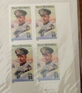 BILLY MITCHELL ~ 55c BLOCK OF 4 STAMPS ~ 1999 ~ SEALED / UNOPENED