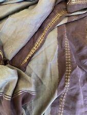 Early Fringed Woven Silk Fabric Overshot Sage Purple Metalwork Border 4+ Yards