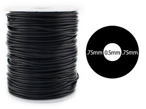 "Hollow Rubber Cord - 2mm (1/16"") - Black - 10 20 50 Yards - Craft Jewelry Tube"