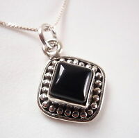 Small Square Black Onyx with Silver Dot Accents 925 Sterling Silver Pendant
