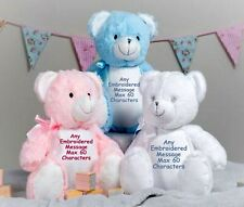 Personalised Large Teddy Bear New Baby Christening Flower Girl Birthday Gift