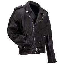 Mens Black Leather Motorcycle Biker Jacket Zip out Liner Size 4xl