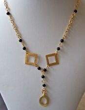 "Black Agate Bead and Gold Plated Shapes 16"" Rosary Chain and Pendant Necklace."