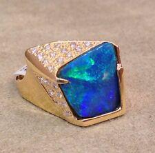 Estate Boulder Opal & Diamond Ring 18K Yellow Gold - HM1471