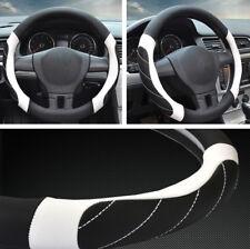 "38cm 15"" Car Non-Slip Microfiber Leather Steering Wheel Cover Black White Lines"