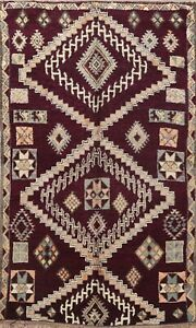 Vintage Geometric Moroccan Oriental Area Rug Vegetable Dye Hand-knotted 6x10