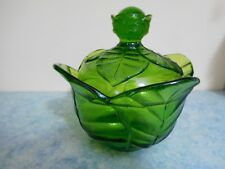 VIKING Glass Green CABBAGE/ LEAF candy bow, dish / lid. STILL HAS STICKER. Rare