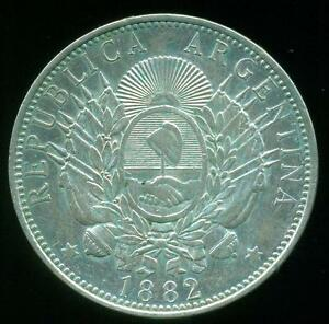 """ARGENTINA SILVER COIN 1 ONE PESO """"PATACON"""" 1882 CROWN / DOLLAR SIZE XF+ COND"""