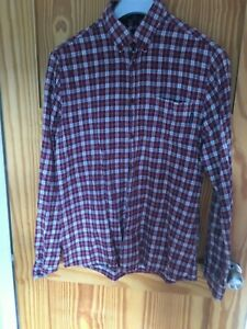 """""""Shore Leave"""" Men's Maroon and Grey Check Long Sleeve Cotton Shirt - UK Size M"""