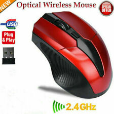 CONNEX-USB 2.4GHz Wireless Optical Mouse w/ Receiver-Laptop Computer-RED- US