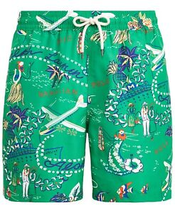 "Polo Ralph Lauren Men's 5 1/2"" Inseam Traveler Swim Trunk Hawaiian Getaway Large"