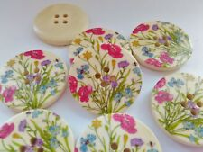 "4 Large Wild Flower Buttons 30mm (1 1/8"") Wood Floral Buttons Focal Buttons"