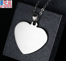 Lady Personalized Blank Stainless Steel Silver Heart Pendant Necklace Dog Tag
