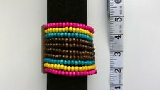 Paparazzi Pink Yellow Turquoise Brown Wood Stretchy Bracelet- NWOT
