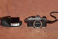 Olympus OM10 with manual adapter, Olympus flash and neckstrap. Film tested