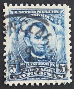 U.S. Used #304 5c Blue Lincoln, Superb. Lovely CDS Cancel.  A Gem!
