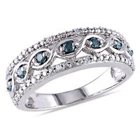 Amour Sterling Silver 1/4 Ct TDW Blue and White Diamond Ring H-I I2-I3