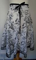 CKM Summer Skirt Size M UK 12 Cotton Blend Lined Black & White Floral Boho Gypsy