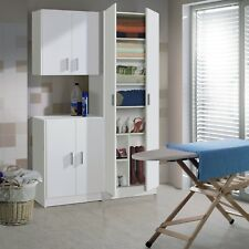 Laundry Utility Room White Tall Storage Unit + Wall Cupboard + Low Cupboard SET