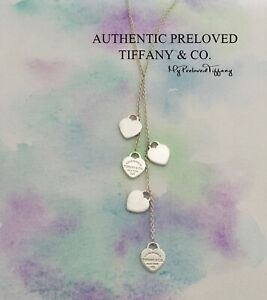 Excellent Authentic Tiffany & Co Return To Lariat 5 Mini Heart Necklace Silver