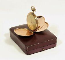 wunderschöne alte Taschenuhr vergoldet mit Etui Silvana Sprungdeckel /V