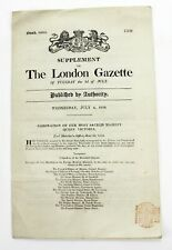 Vtg. Queen Victoria Coronation London Gazette 1838 Newspaper Supplement 8 Pgs.