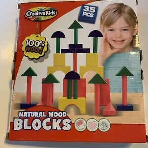 Creative Kids Boys and Girls NATURAL COLORED WOOD BLOCKS SET NEW IN BOX 35-PCS