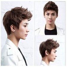 Handsome boys wig new Korean short Brown men's Heat  hair Cosplay wigs -cap