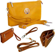 Large Yellow Clutch Bag Multi Compartment Cross Body Purse Messenger Wrist Strap