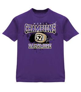 RAY LEWIS BALTIMORE RAVENS SUPERBOWL CHAMPIONS T-Shirt w/ Ring 2XL Purple Tee