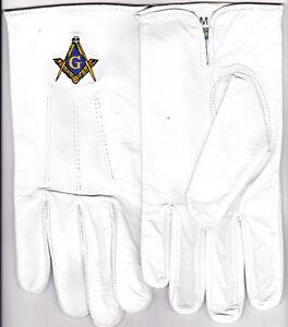 Masonic Freemasons Leather Embroidered Gloves