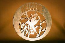 Welcome Sign Humming Bird Plasma Cut Metal Wall Art Hanging Home Decor
