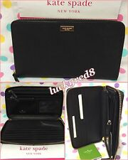 NEW Authentic Kate Spade NY Talla Laurel Way Zip Around Travel Wallet in Black