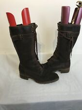 Timberland Ladies Long Brown Leather Zip & Lace Up Boots Uk 8w Ref Ba8