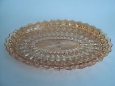 """HOLIDAY Iridescent JEANNETTE 11 3/4"""" OVAL SERVING PLATTER Buttons Bows Carnival"""