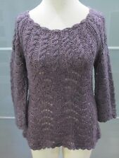 Anthropologie Sparrow Open Weave Scalloped Edge Wool Blend Sweater Size M