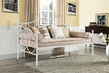 Contemporary White Twin Scrolling Metal Daybed Day Bed Frame Bedroom Furniture